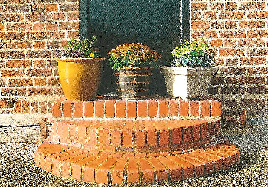 Three plant pots sitting on new steps